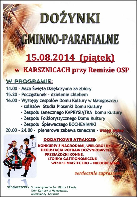 Dożynki gminno - parafialne wKarsznicach - zapraszamy!