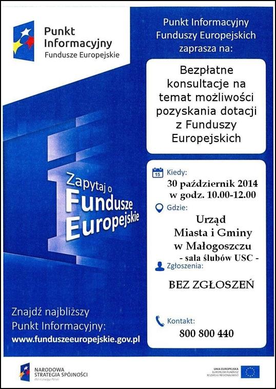 Bezpłatne konsultacje nt. możliwości pozyskiwania środków finansowych zfunduszy UE!