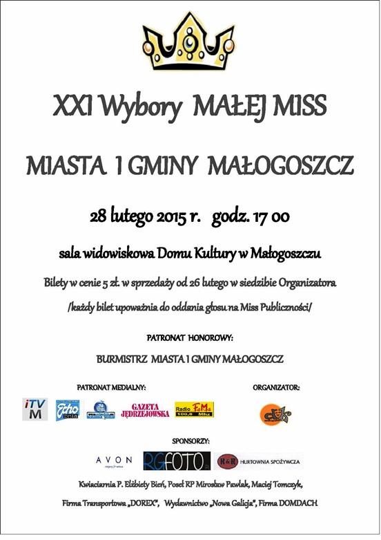 XXI Wybory małej Miss Miasta igminy Małogoszcz - zapraszamy!